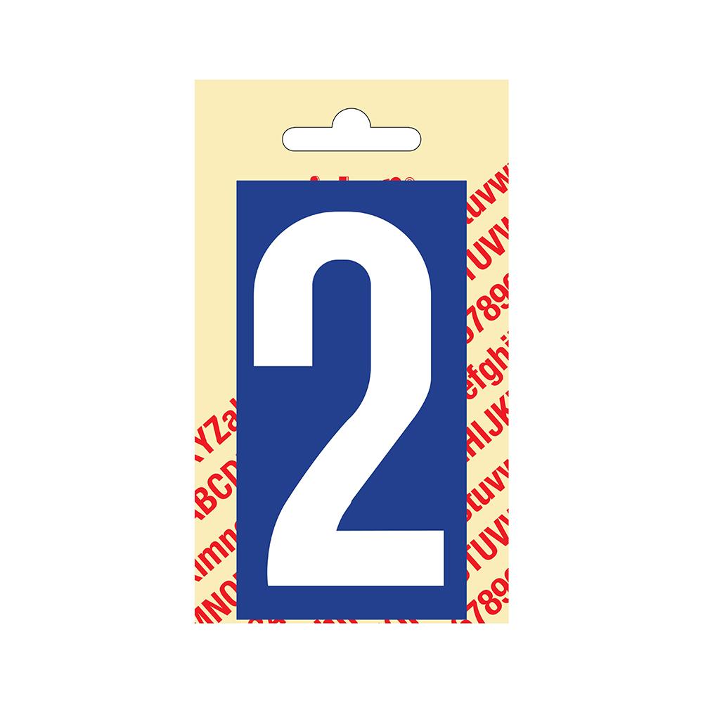 Pickup Plakcijfer kunststof 90 mm - blauw met wit 2 Nobel mono bordje
