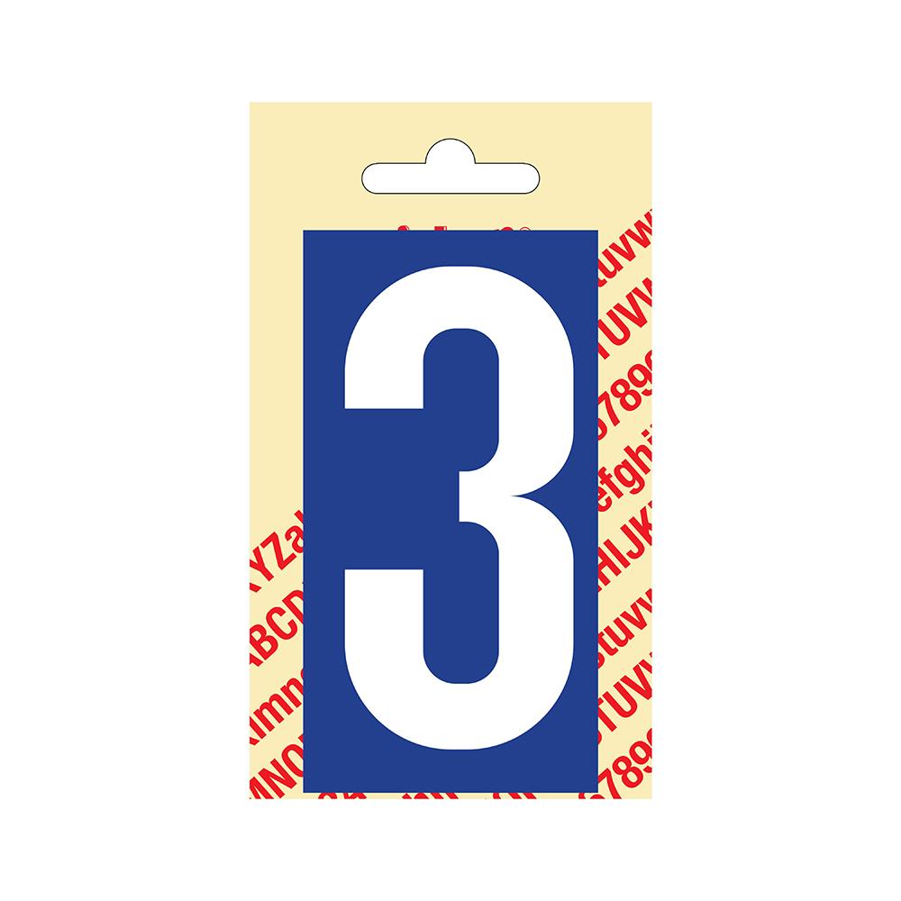Pickup Plakcijfer kunststof 90 mm - blauw met wit 3 Nobel mono bordje