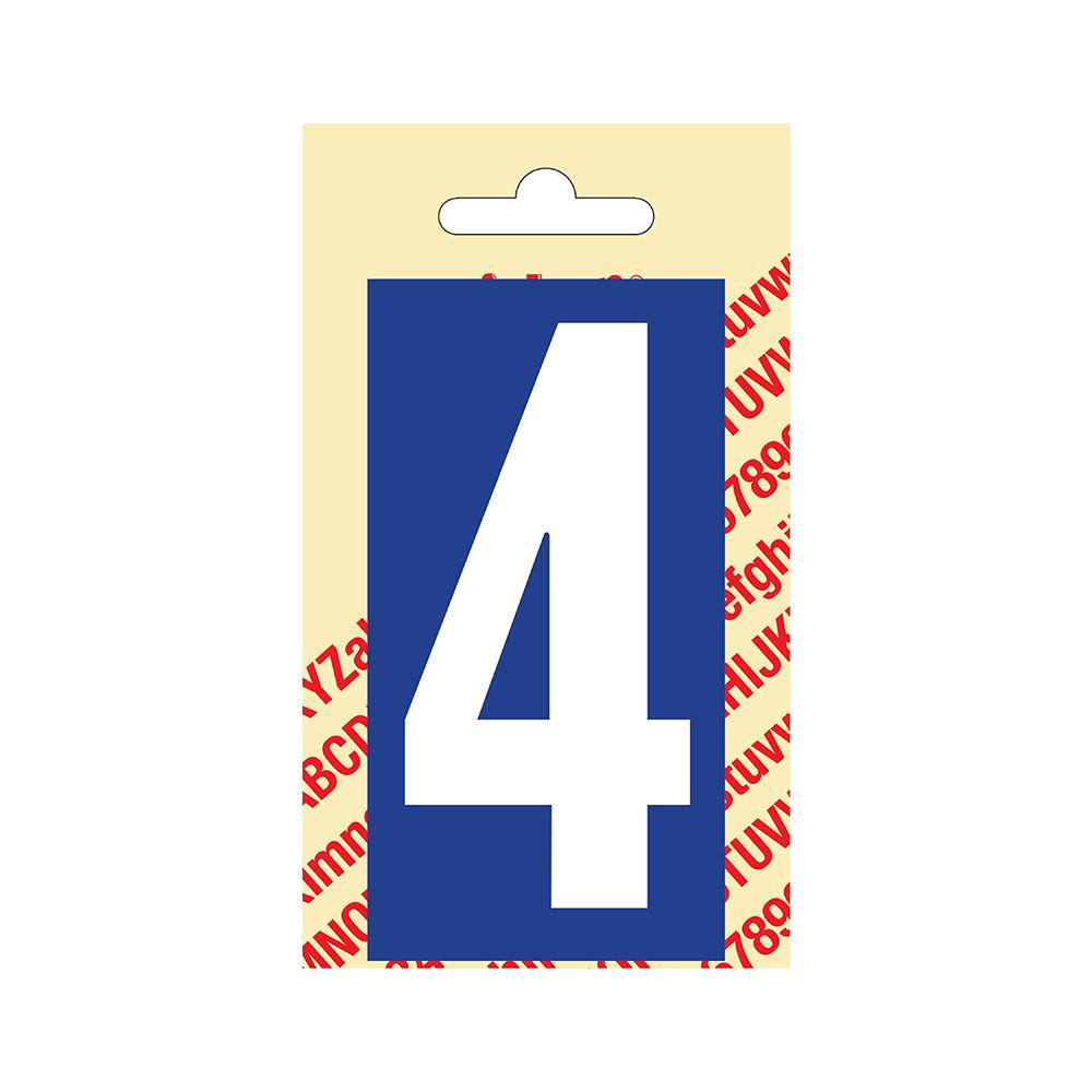 Pickup Plakcijfer kunststof 90 mm - blauw met wit 4 Nobel mono bordje