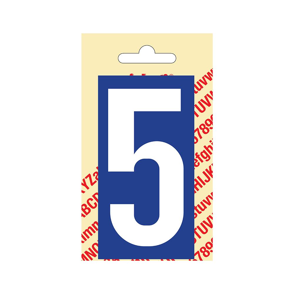 Pickup Plakcijfer kunststof 90 mm - blauw met wit 5 Nobel mono bordje