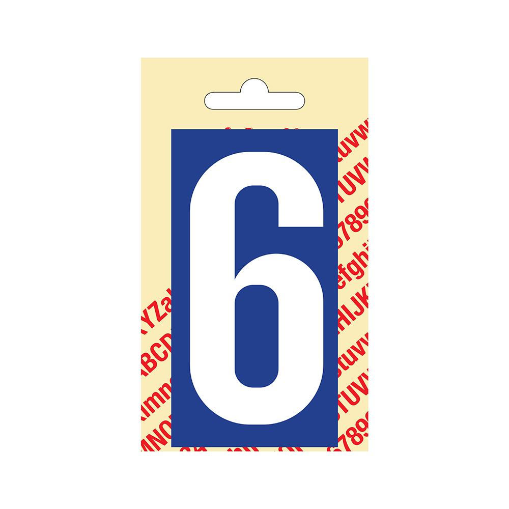 Pickup Plakcijfer kunststof 90 mm - blauw met wit 6 Nobel mono bordje