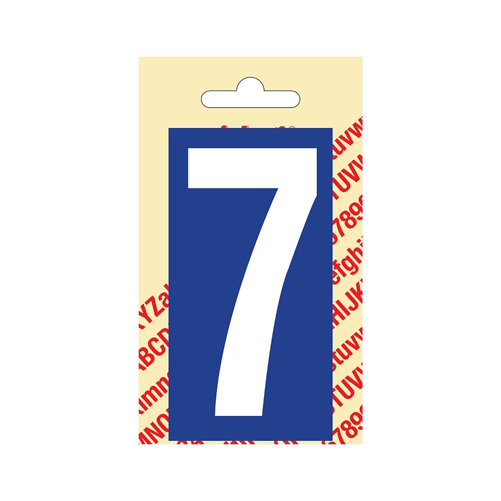 Pickup Plakcijfer kunststof 90 mm - blauw met wit 7 Nobel mono bordje