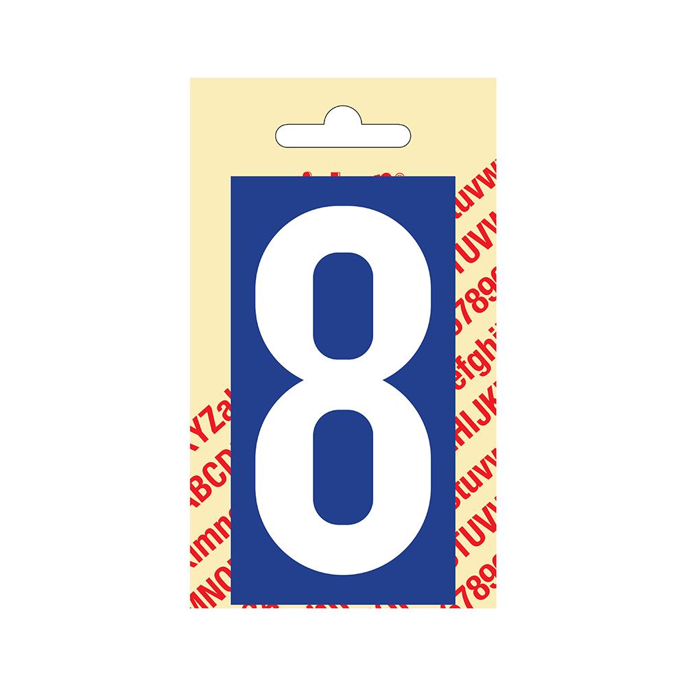 Pickup Plakcijfer kunststof 90 mm - blauw met wit 8 Nobel mono bordje