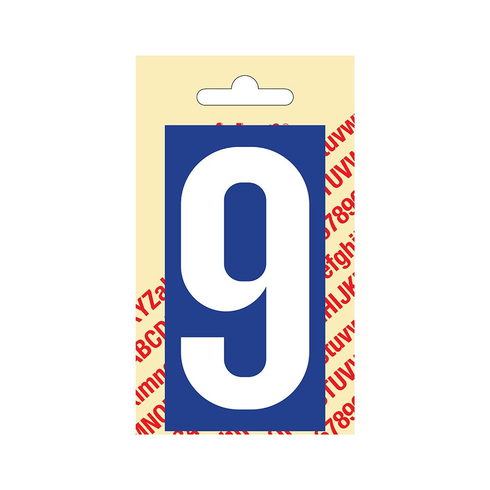 Pickup Plakcijfer kunststof 90 mm - blauw met wit 9 Nobel mono bordje
