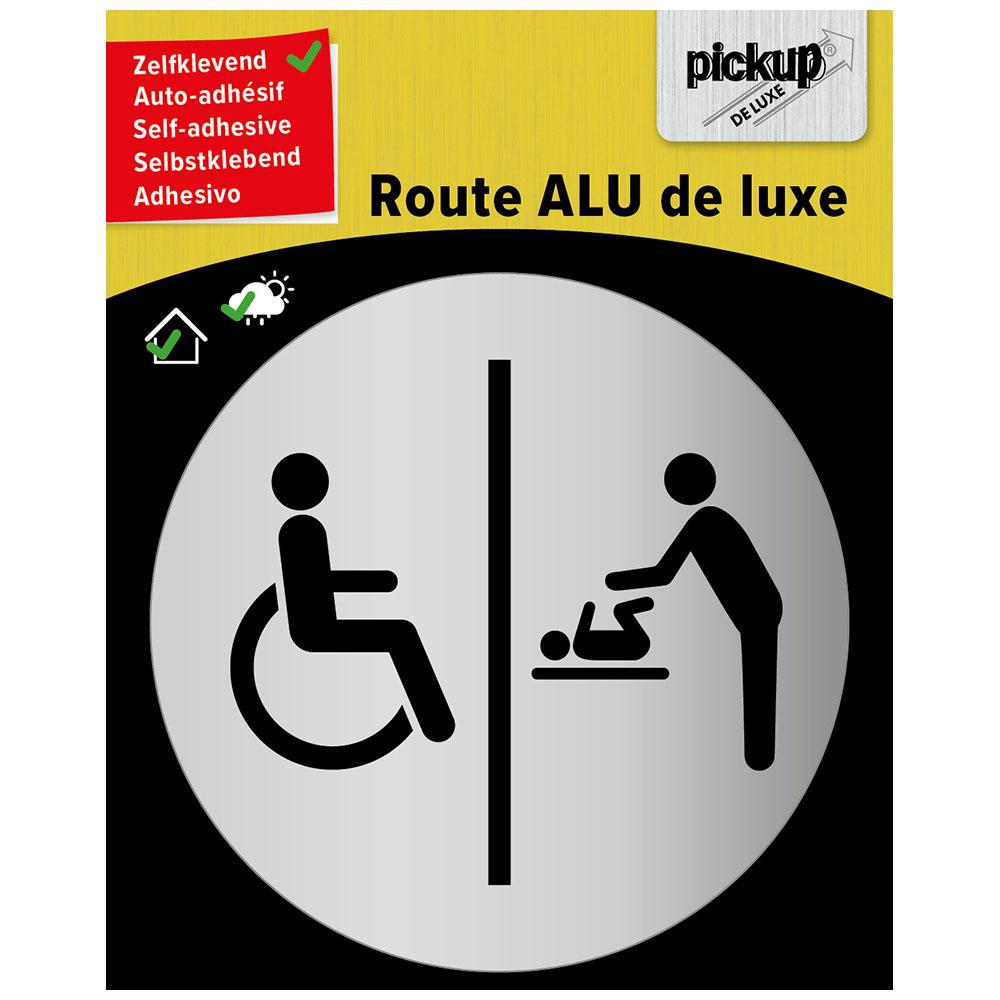 Route rond brushed alu rolstoel babyverschoningsruimte - picto rond 80 mm