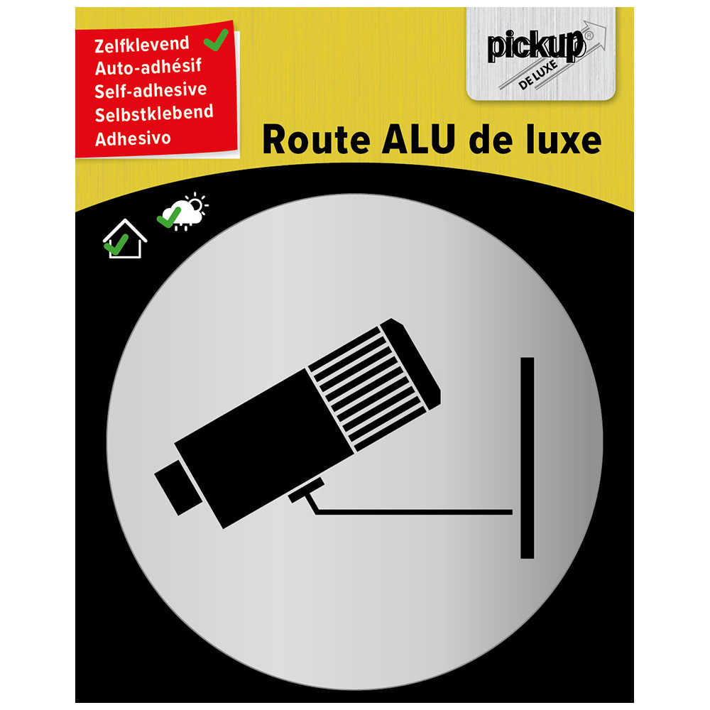 Route rond brushed alu Camerabewaking - picto rond 80 mm