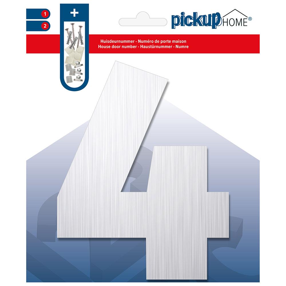 Brushed Alu Huisnummer 4 - 14,5 cm
