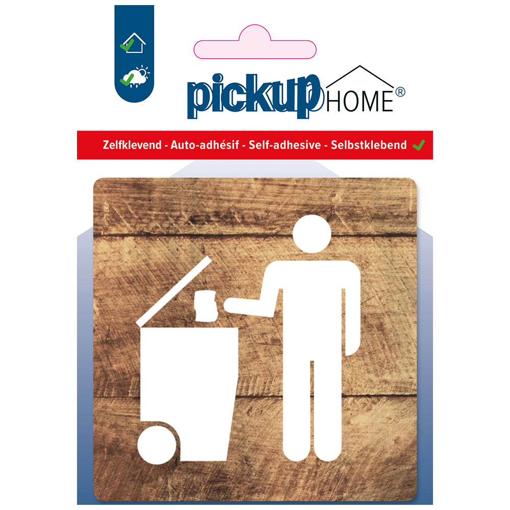 Pickup afvalbak hout - 90x90 mm Pictogram Route Acryl