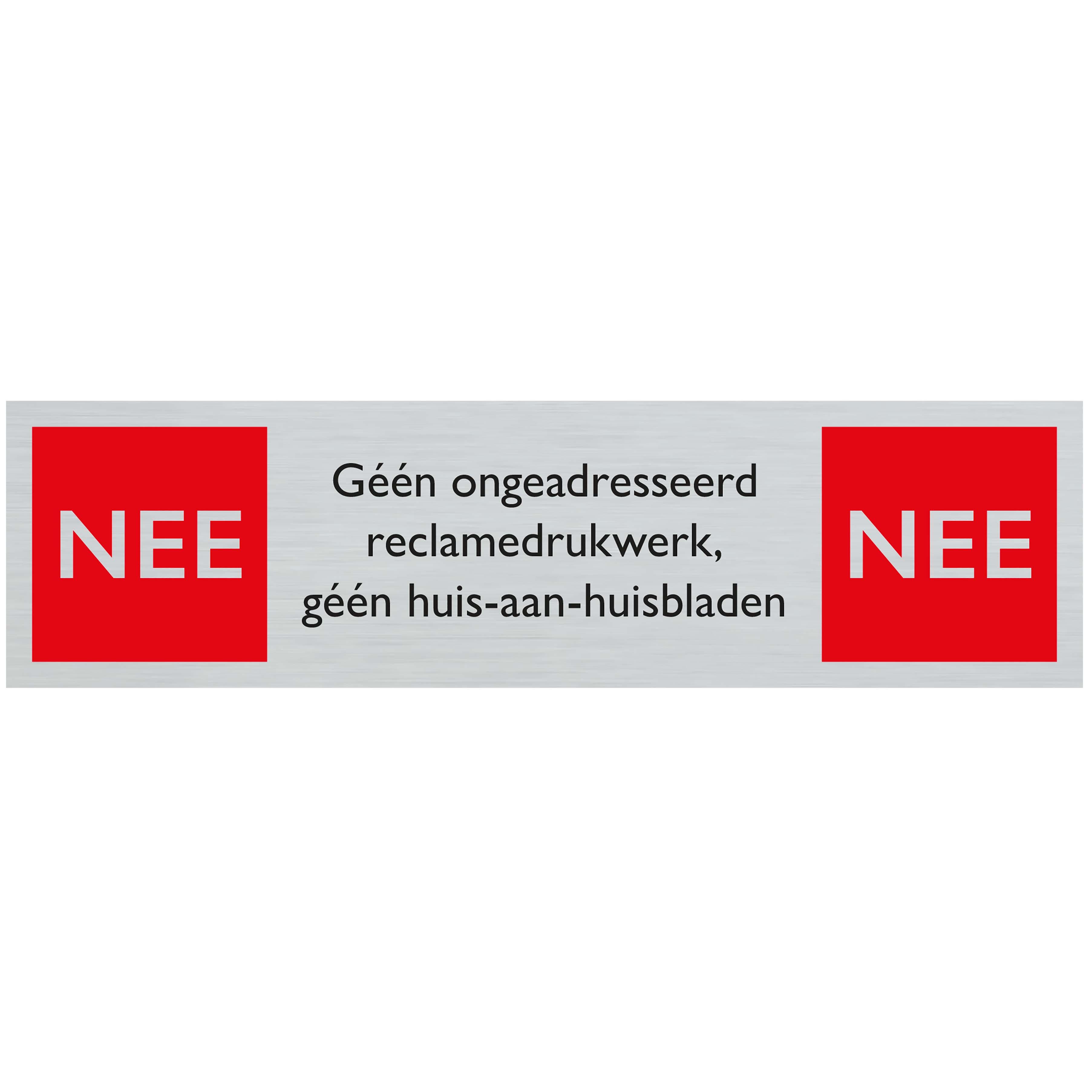 NEE NEE reclamedrukwerk - Route alulook 165 x 44 mm - zelfklevend kunststof aluminiumlook