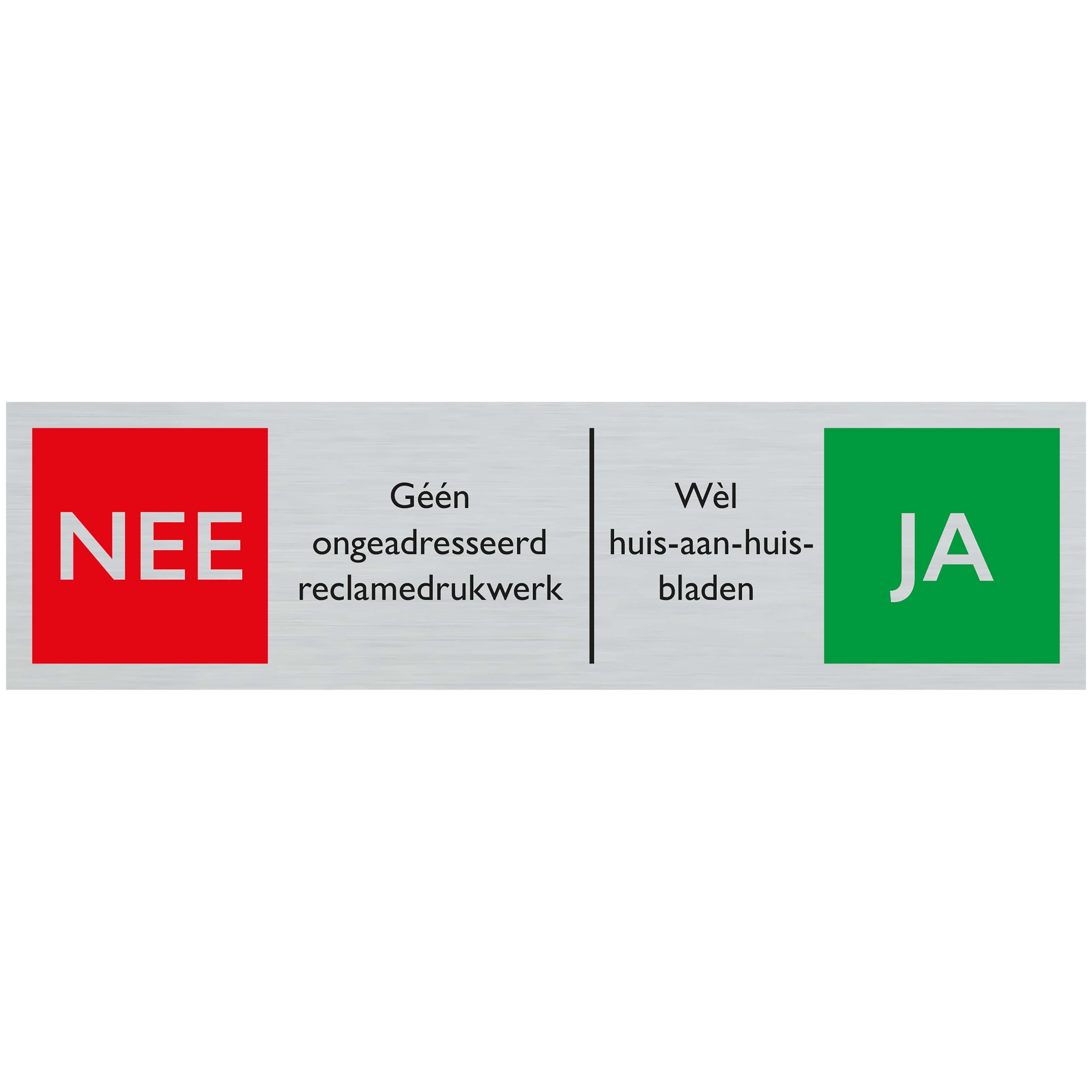 NEE JA reclamedrukwerk - Route alulook 165 x 44 mm - zelfklevend kunststof aluminiumlook