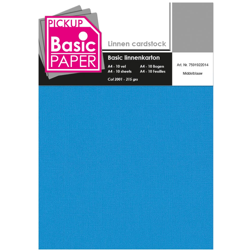Basic Linnenkarton A4 Middenblauw - 10 vel - 215g