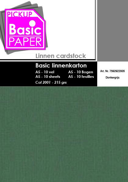Basic Linnenkarton A5 Donkergrijs - 10 vel - 215g