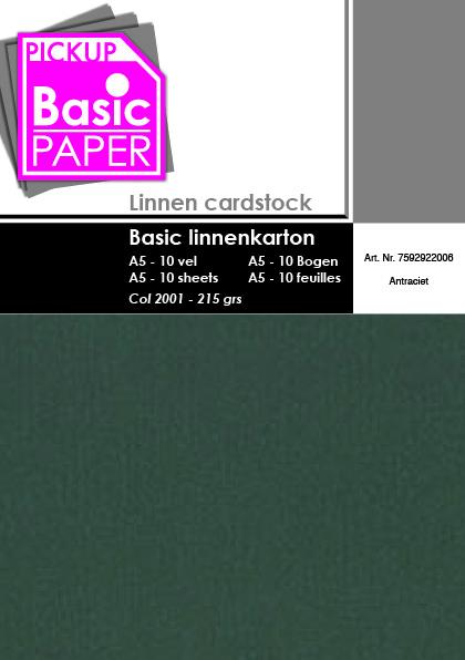Basic Linnenkarton A5 Antraciet - 10 vel - 215g