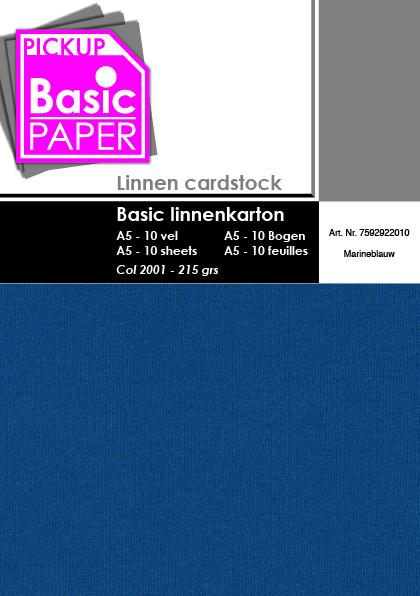 Basic Linnenkarton A5 Marineblauw - 10 vel - 215g