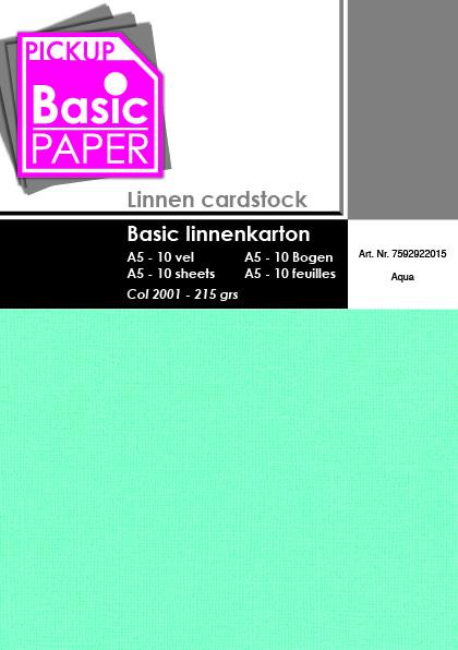Basic Linnenkarton A5 Aqua - 10 vel - 215g