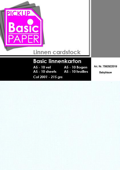 Basic Linnenkarton A5 Babyblauw - 10 vel - 215g