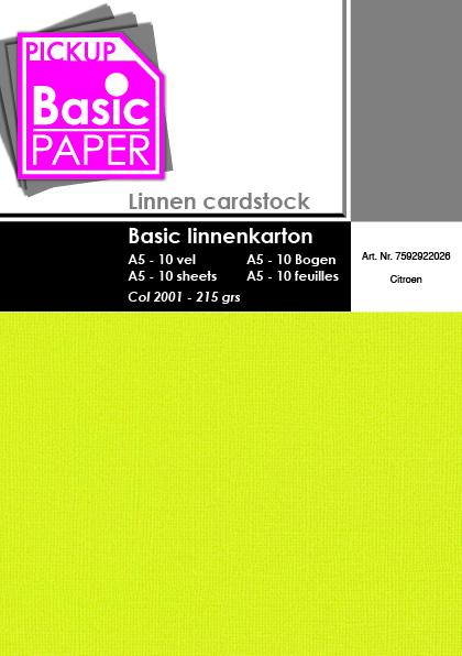 Basic Linnenkarton A5 Citroen - 10 vel - 215g
