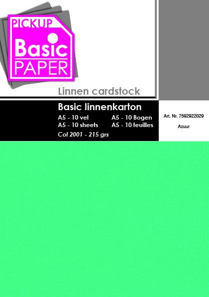 Basic Linnenkarton A5 Azuur - 10 vel - 215g