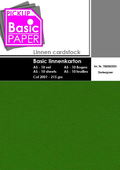 Basic Linnenkarton A5 Donkergroen - 10 vel - 215g