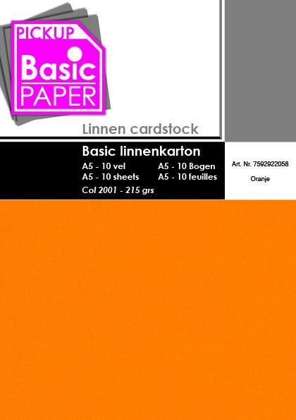 Basic Linnenkarton A5 Oranje - 10 vel - 215g