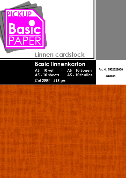 Basic Linnenkarton A5 Dakpan - 10 vel - 215g