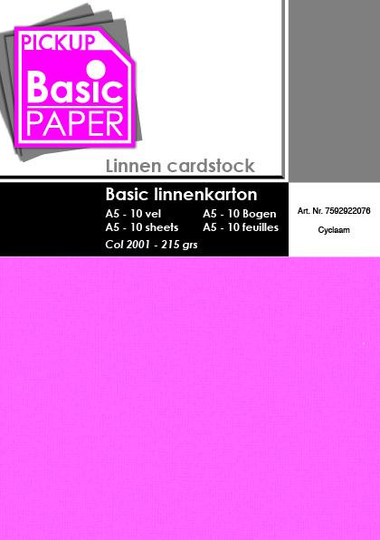 Basic Linnenkarton A5 Cyclaam - 10 vel - 215g