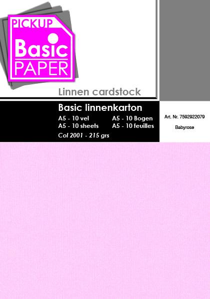 Basic Linnenkarton A5 Babyrose - 10 vel - 215g