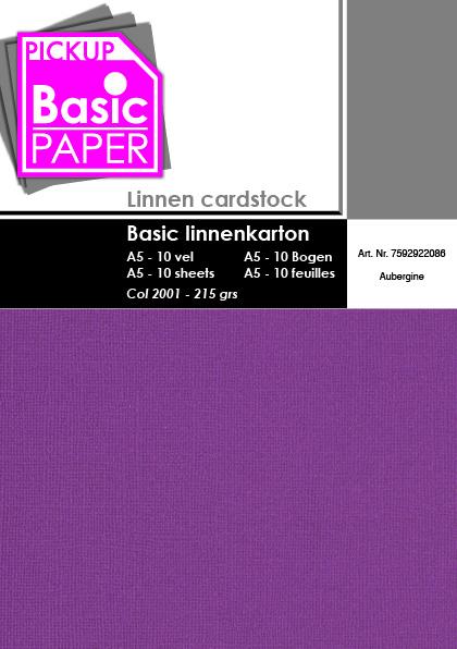 Basic Linnenkarton A5 Aubergine - 10 vel - 215g