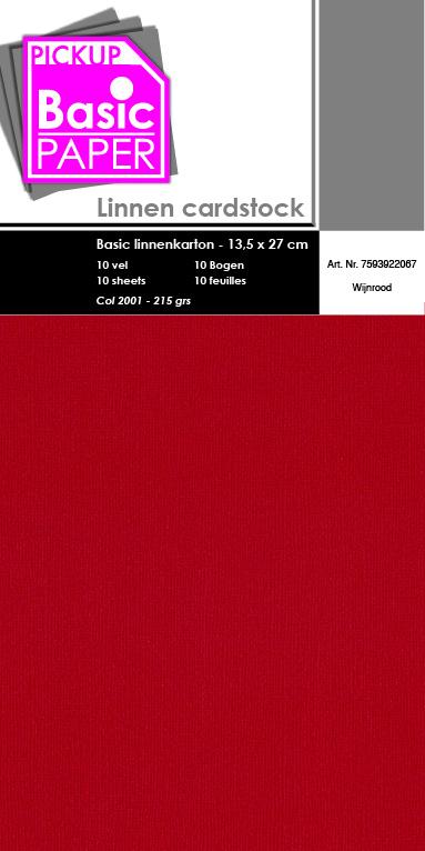 Basic Linnenkarton 13,5 x 27 cm - 10 vel