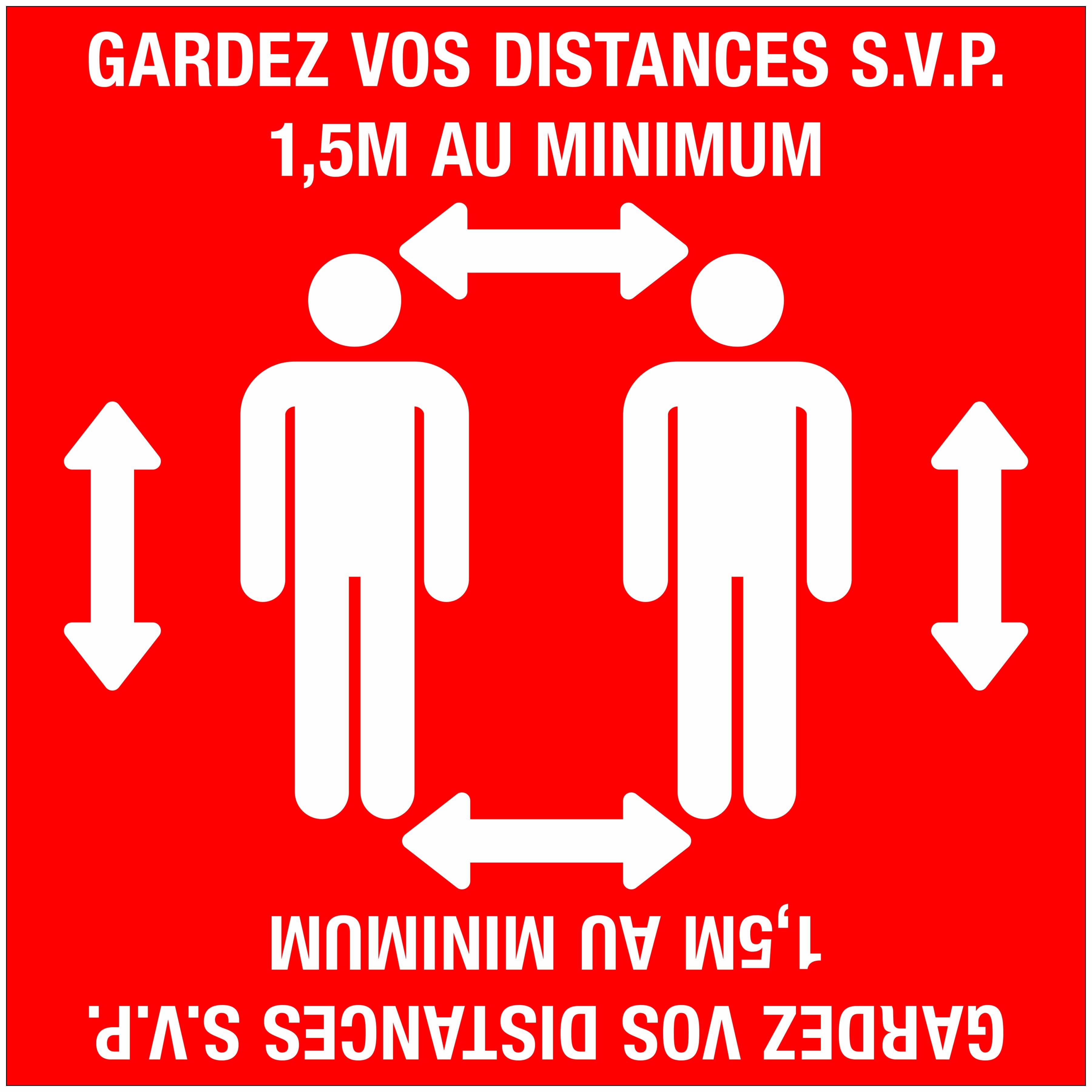 Autocollant au sol laminé Garder vos distance 1,5 mètre COVID19 COVID-19 corona virus
