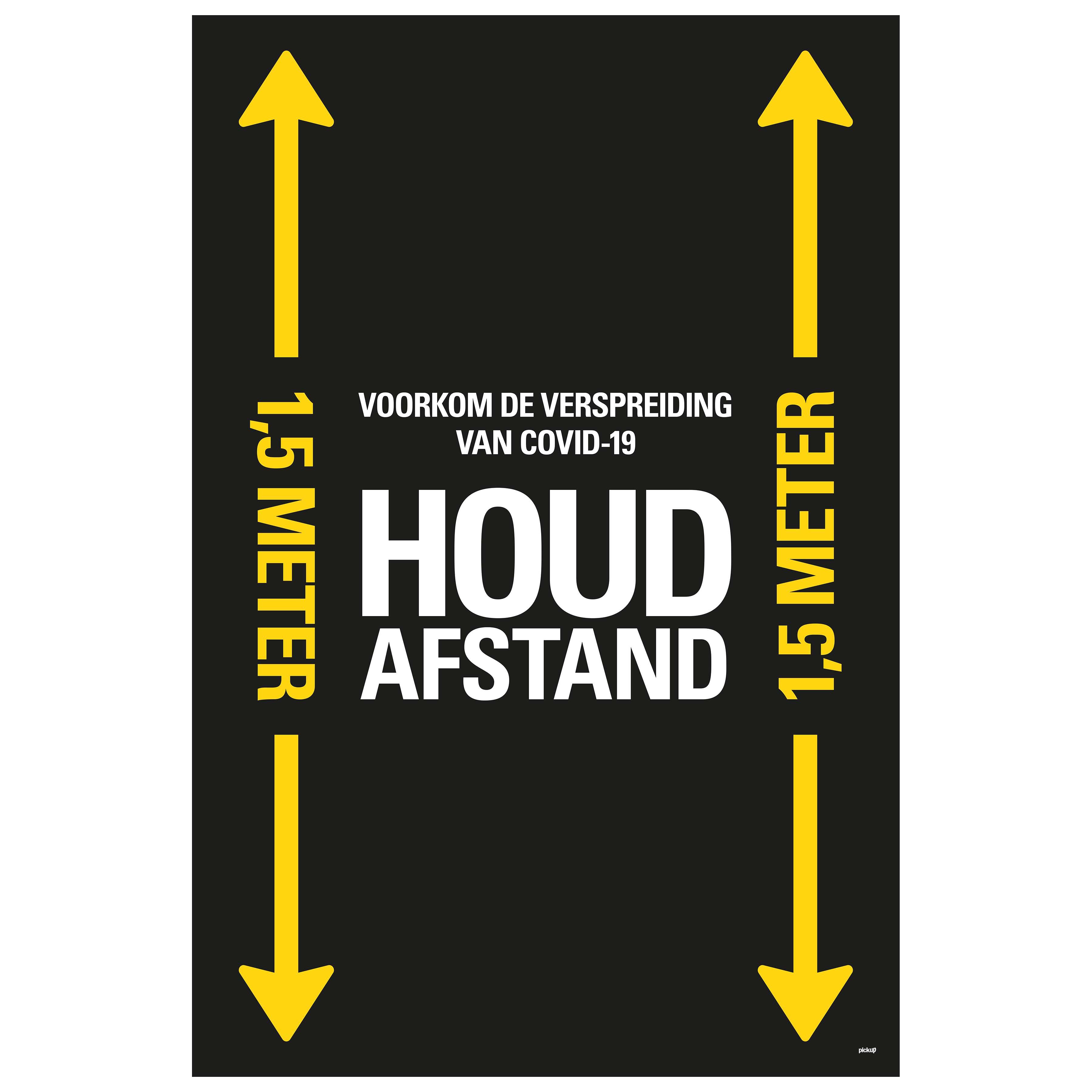 Vloersticker HOUD AFSTAND zwart-geel - social distance COVID19 COVID-19