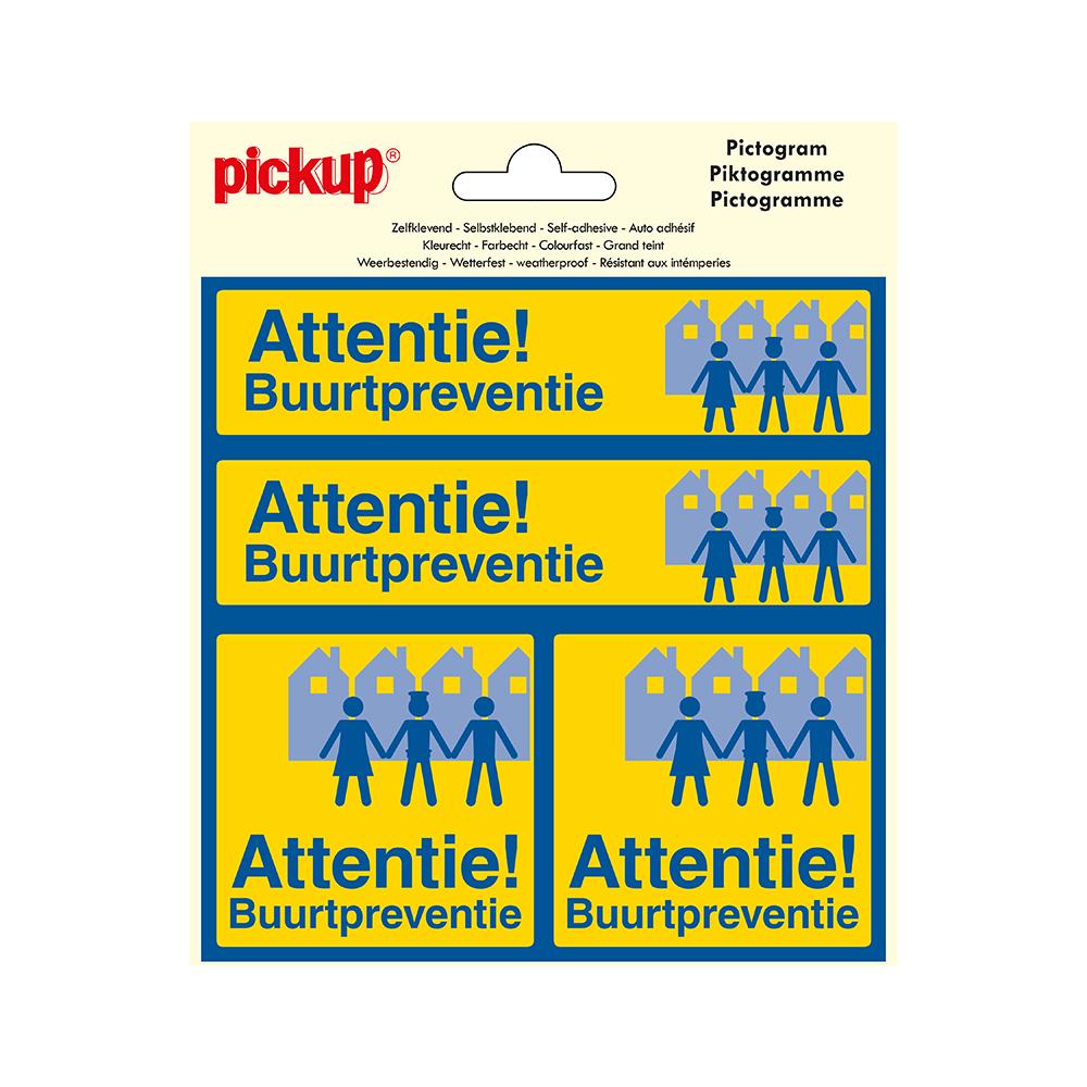 Pictogram Vinyl 15x15cm 4 op 1 - Attentie Buurtpreventie