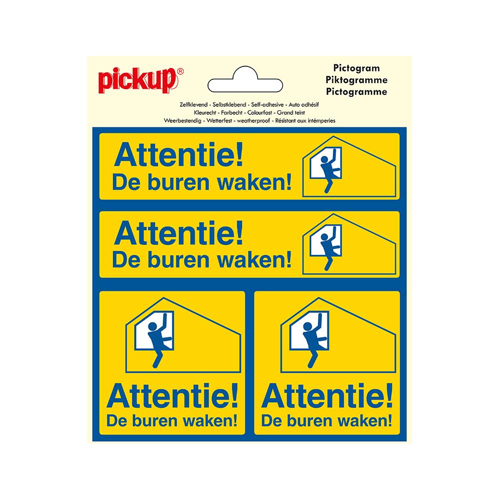 Pictogram Vinyl 15x15cm 4 op 1 - Attentie De buren waken
