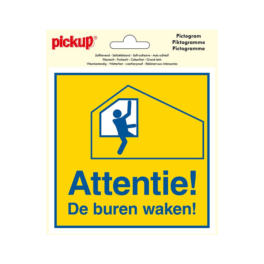 Pictogram Vinyl 15x15cm - Attentie De buren waken