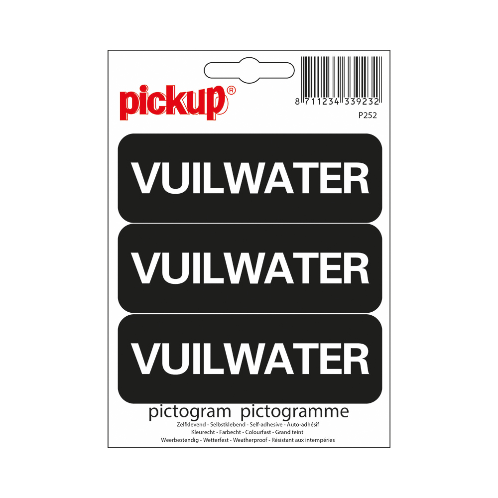 Pickup Pictogram 10x3,3 cm - Vuilwater 3x