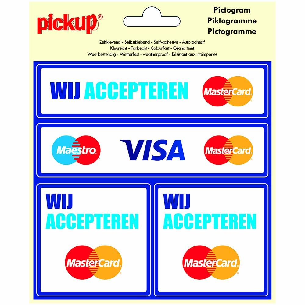 Pictogram Vinyl 15x15cm 4 op 1 - Wij accepteren Mastercard Visa