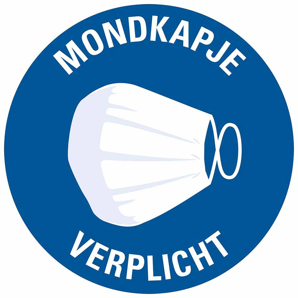 Pictogram sticker mondkapje verplicht rond diameter 150 mm