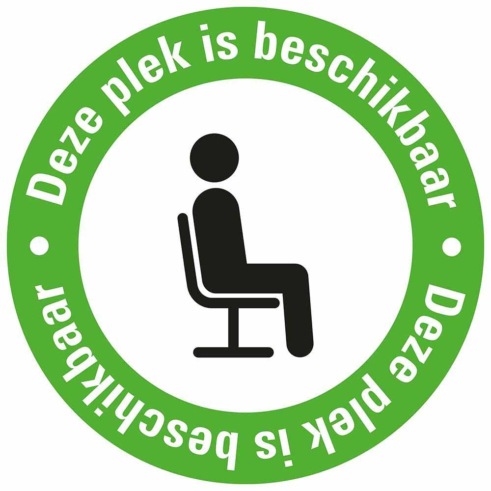 Pictogram sticker deze plek is beschikbaar groen zwart witte tekst
