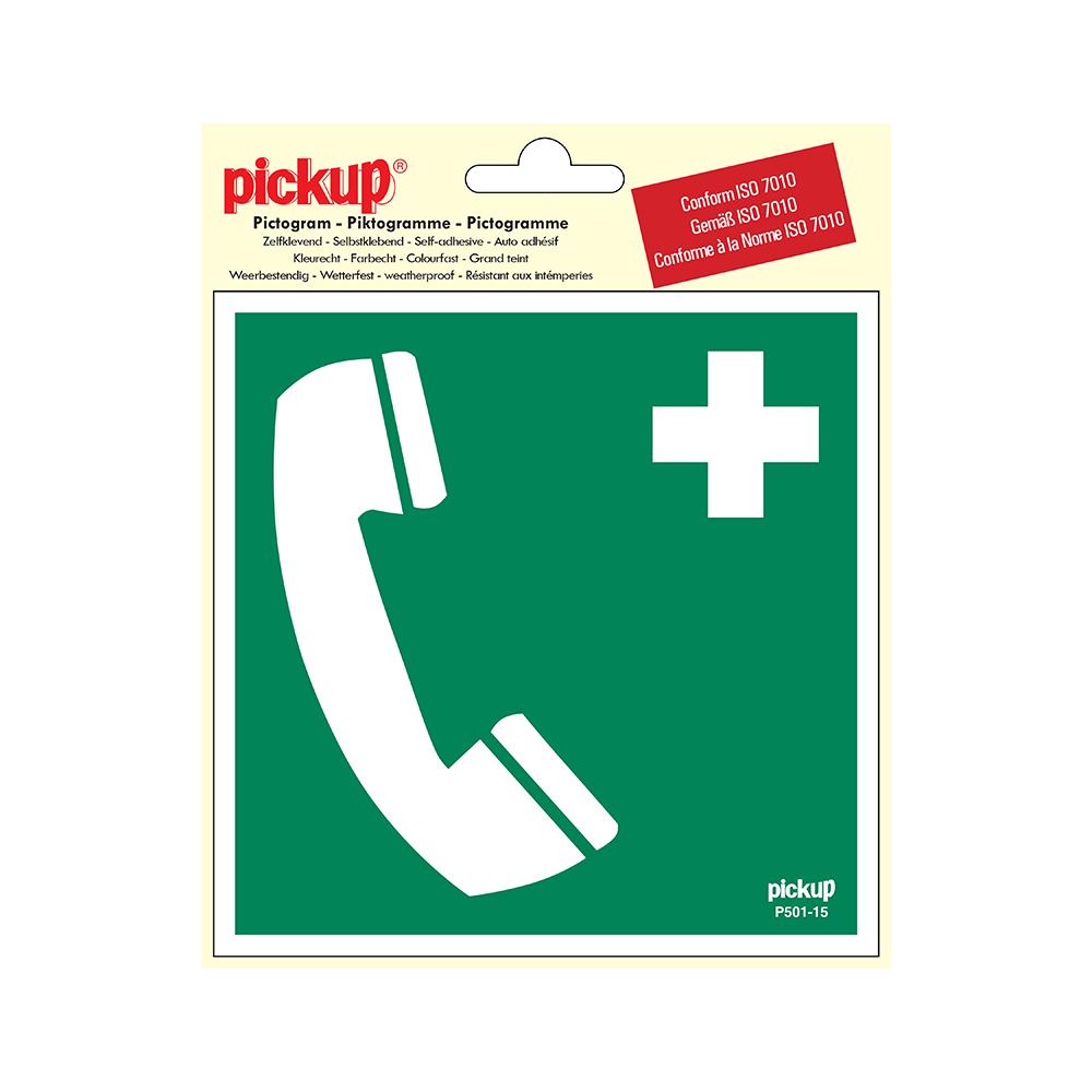 Pickup Pictogram 15x15 cm - Telefoon voor redding 1e hulp - conform ISO 7010