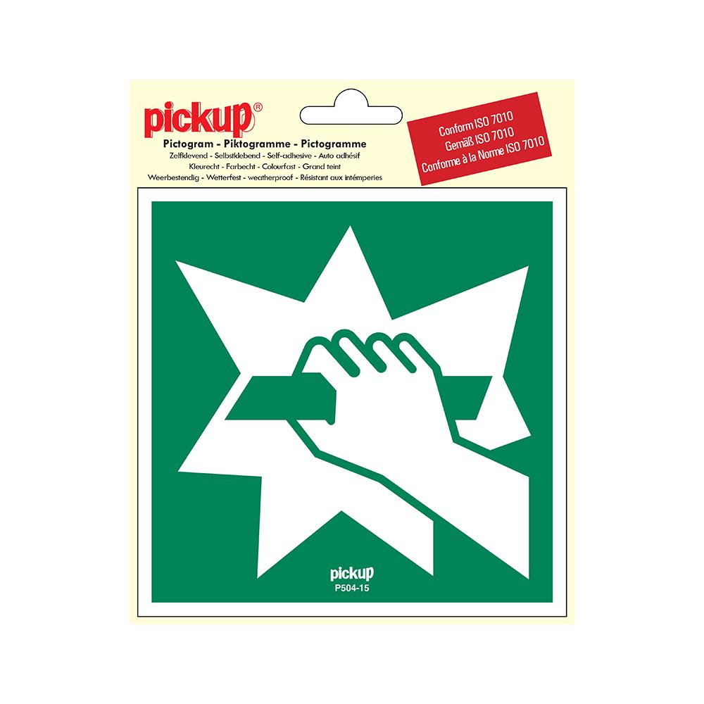 Pickup Pictogram 15x15 cm - Ruit inslaan om vluchtweg te bereiken - conform ISO 7010