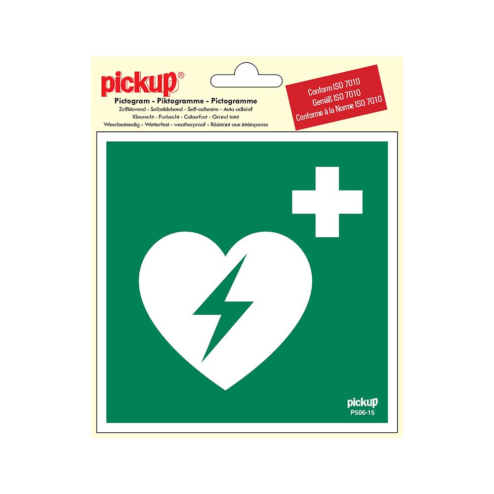 Pickup Pictogram 15x15 cm - AED - conform ISO 7010