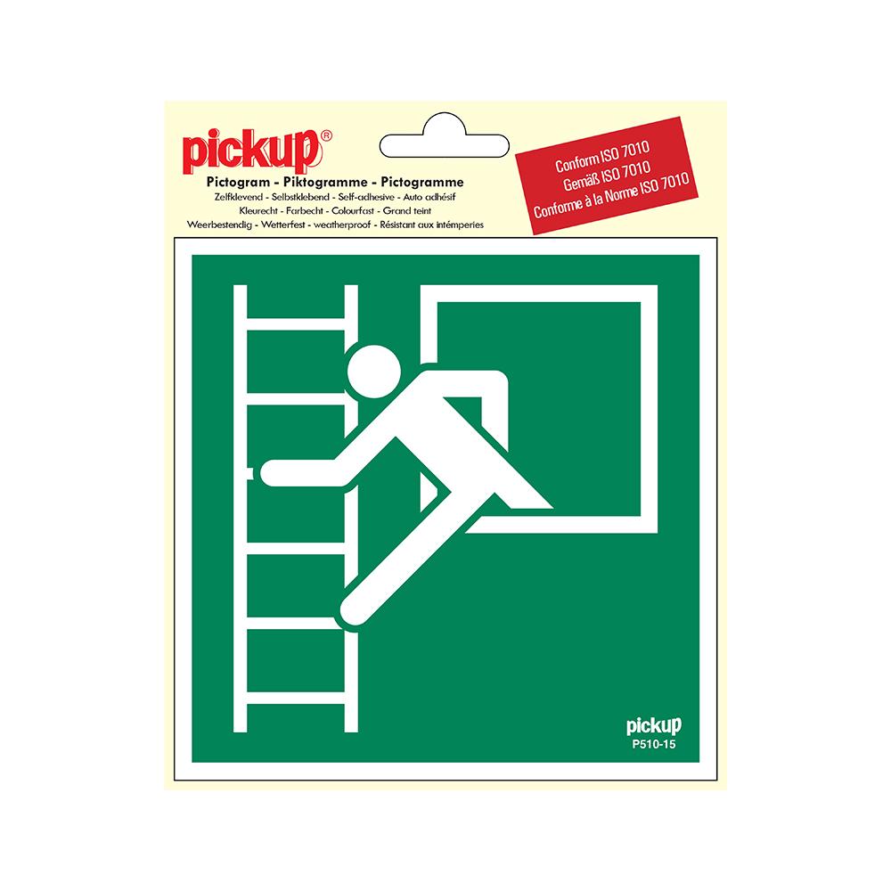 Pickup Pictogram 15x15 cm - Vluchtweg met noodladder - conform ISO 7010