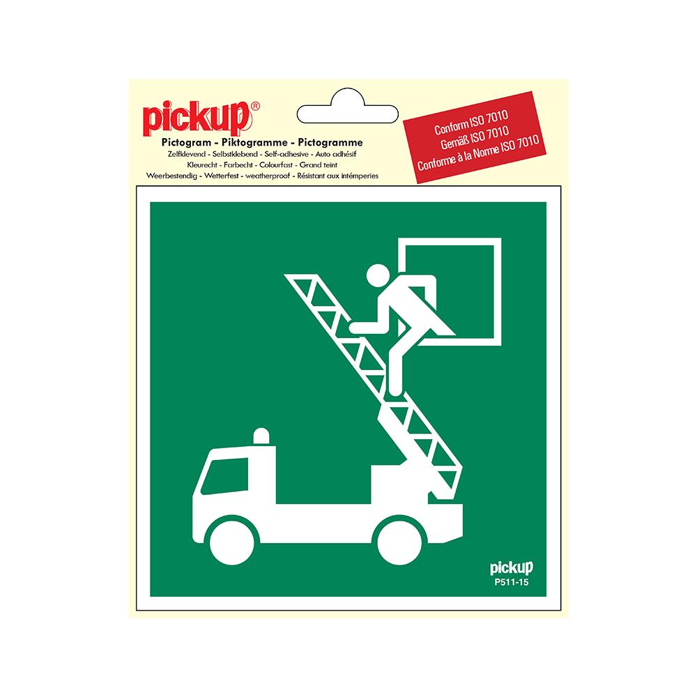 Pickup Pictogram 15x15 cm - Reddings uitgang - conform ISO 7010