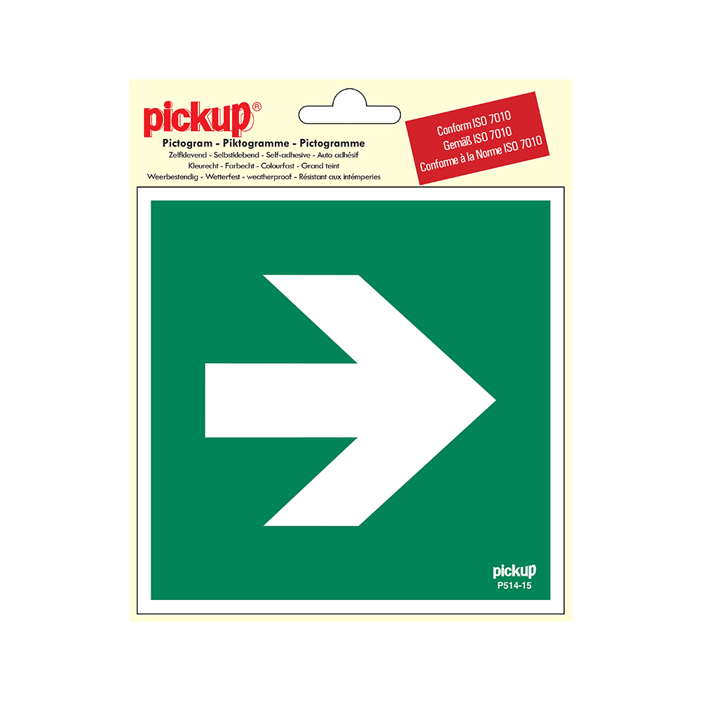 Pickup Pictogram 15x15 cm - Richtingspijl 90 - conform ISO 7010