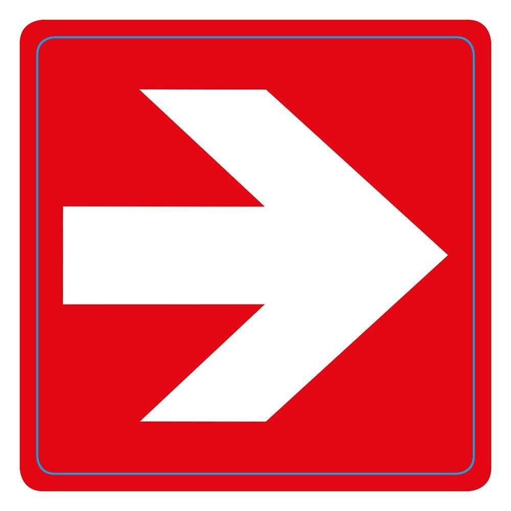 Pictogram zelfklevend 7,5 x 7,5 cm Witte pijl op rood