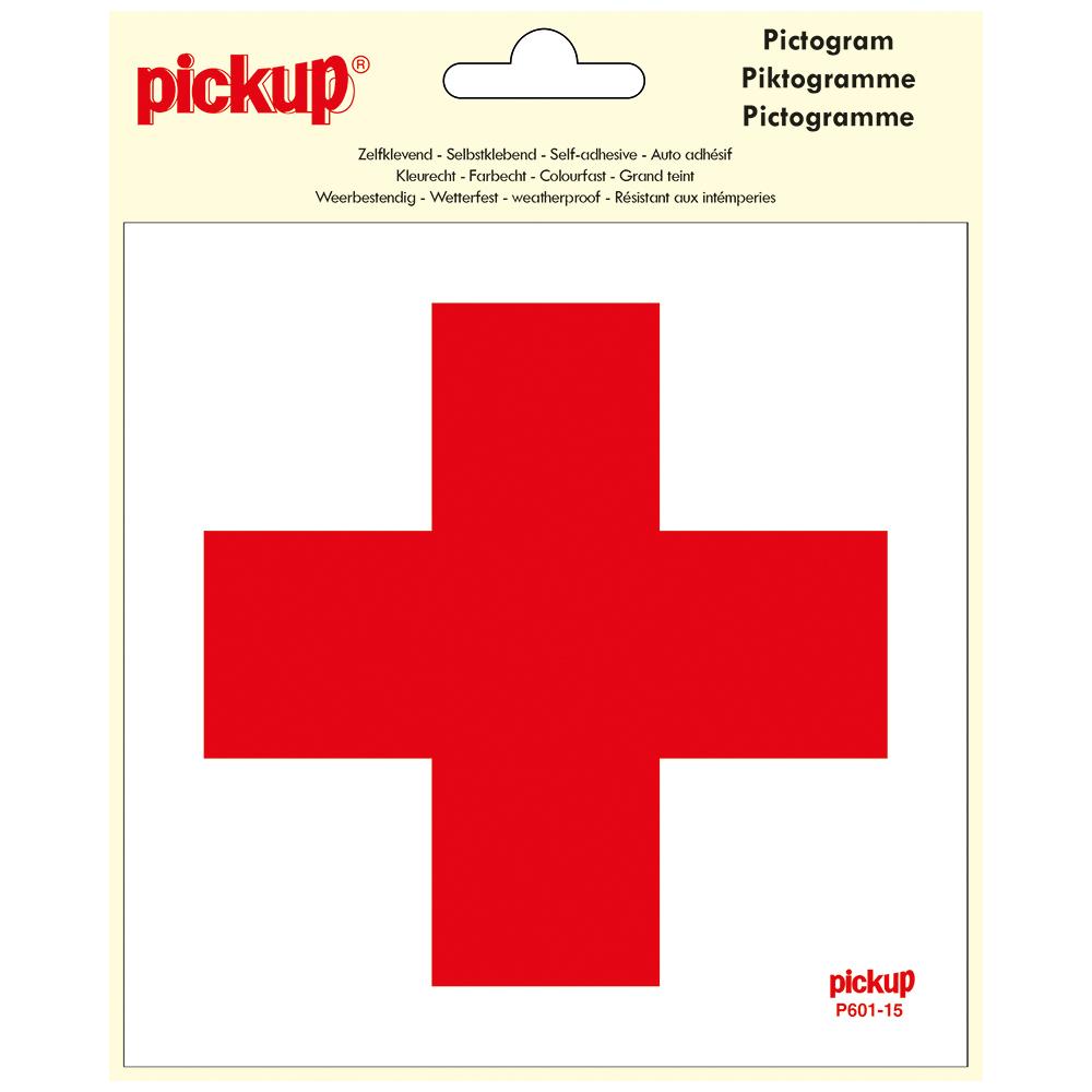Pickup pictogram Aufkleber 15 x 15 cm Kreuz rot