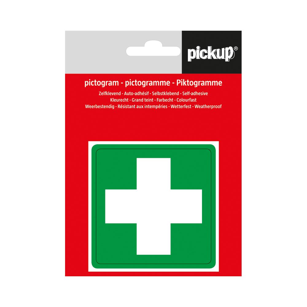 Pickup pictogram Aufkleber 7,5x7,5 cm Grun kreuz