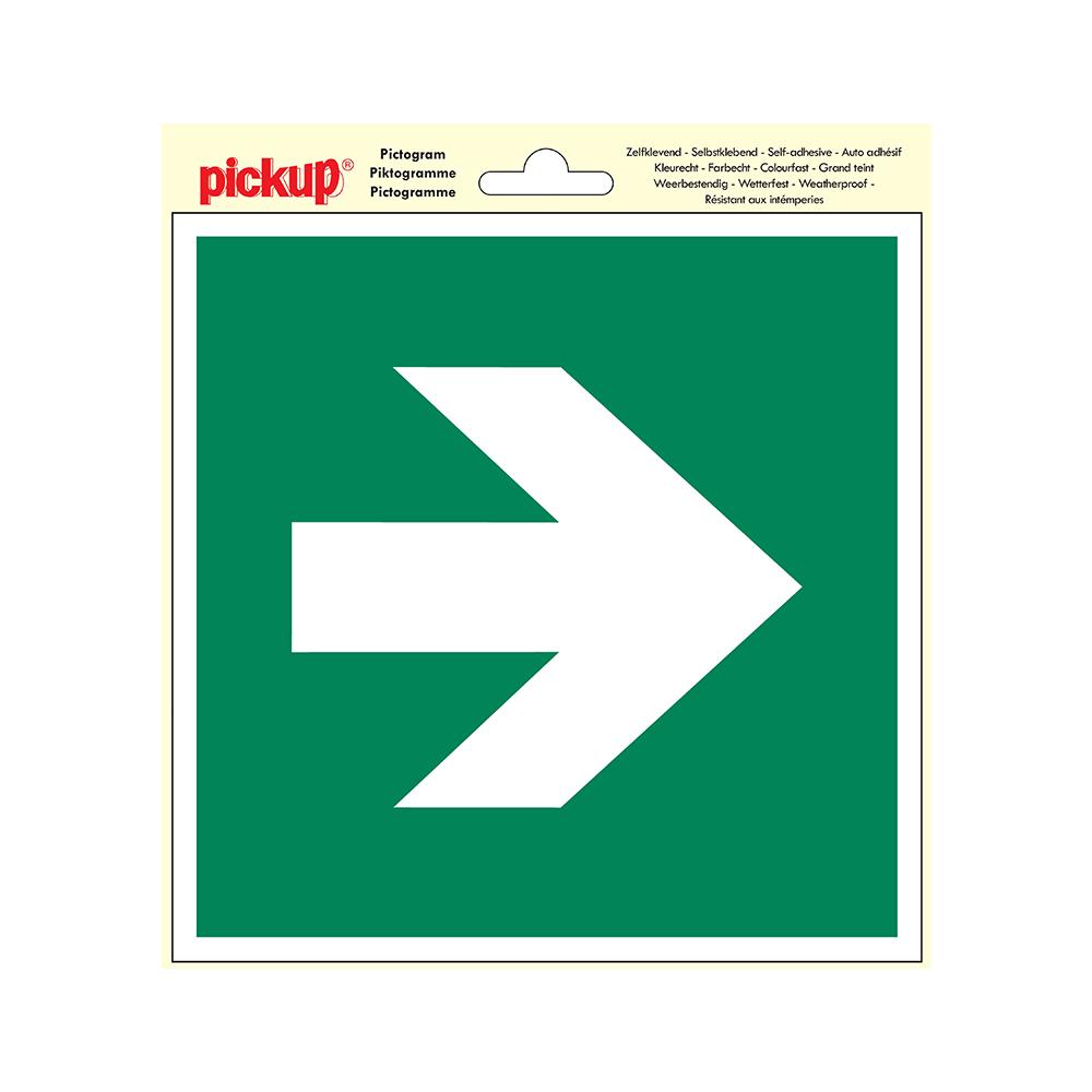 Pictogram 20x20cm - Vluchtweg pijl recht