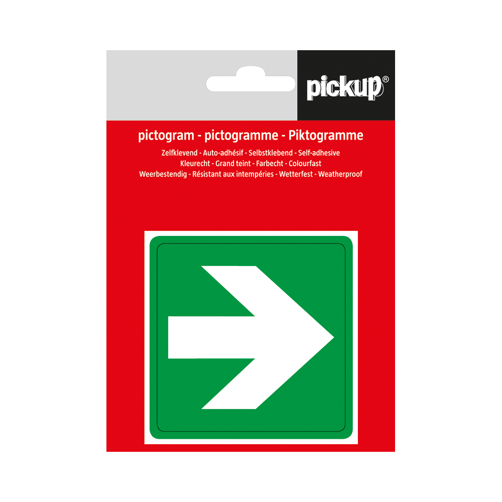 Pickup pictogram Aufkleber 7,5x7,5 cm Pfeil Grun
