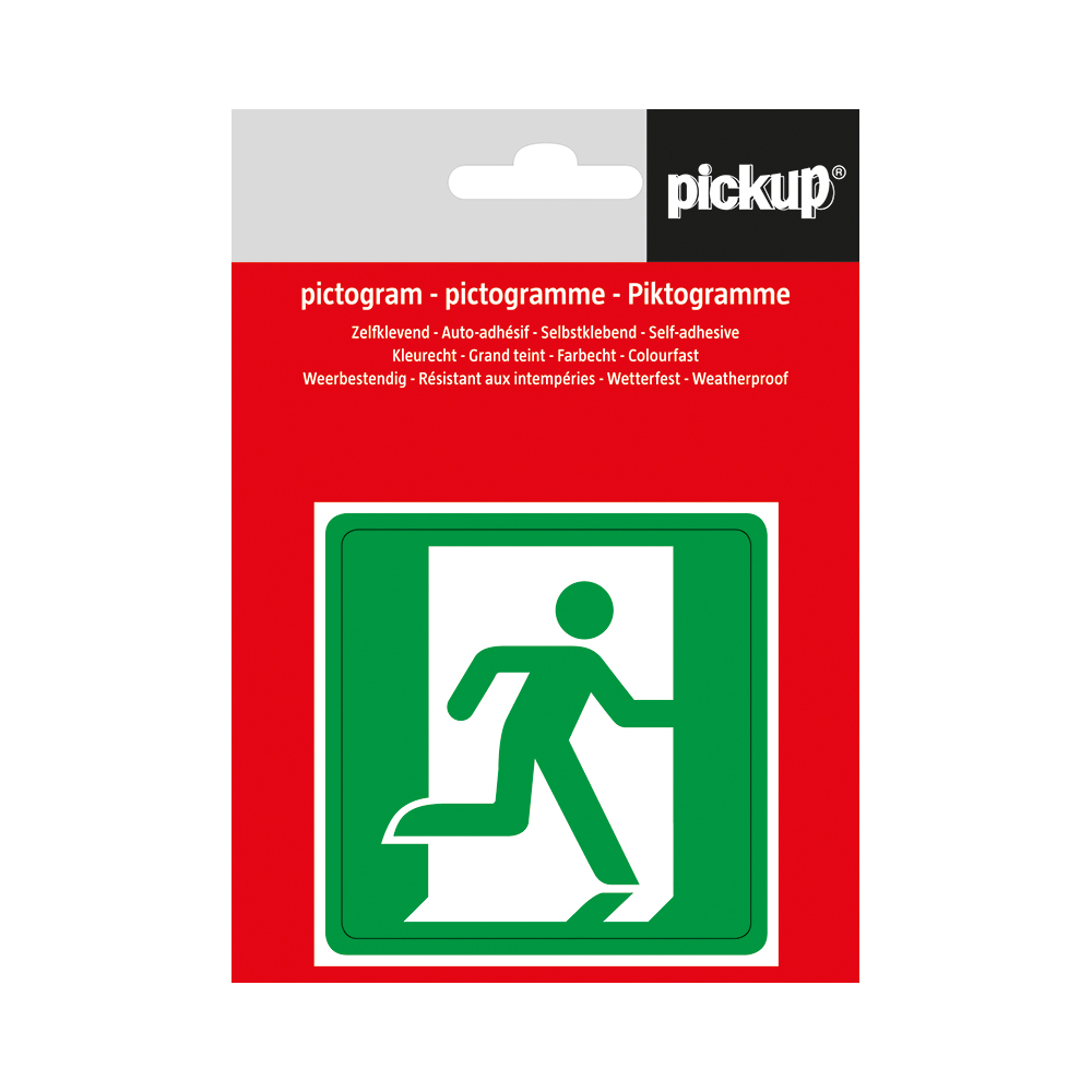 Pickup pictogram Aufkleber 7,5x7,5 cm Notausgang rechts